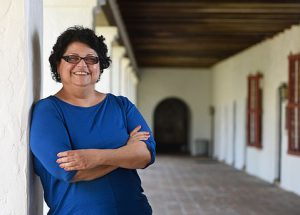 Dr. Orozco at the Santa Barbara Mission (photo by Paul Wellman, SB Independent)
