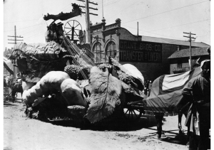 A silk industry float for Utah's Pioneer Semi-Centennial Parade. July 24, 1897. Utah State Historical Society.