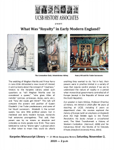 """event flier for what was """"royalty"""" in early modern england"""