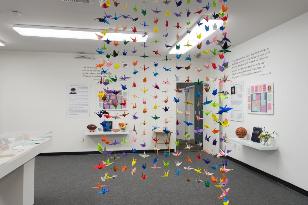 We Remember them exhibit. Memorial to 6 Isla Vista Shooting Victims done by Melissa Barthelemy.