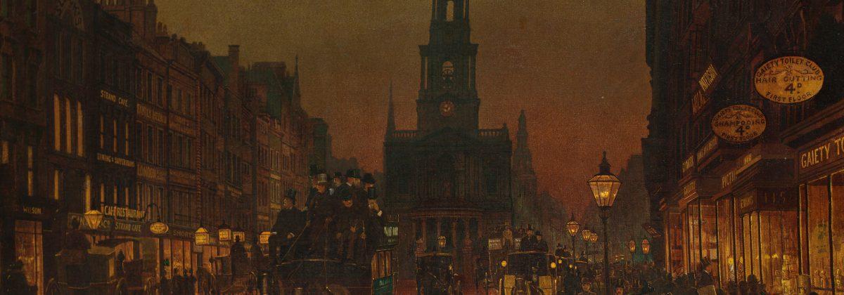 "Arthur E Grimshaw's painting ""The Strand"" (1899)"