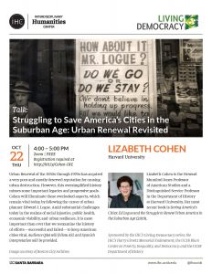 Flyer for Zoom talk for Struggling to Save America's Cities in the Suburban Age: Urban Renewal Revisited on 10/22 from 4-5PM