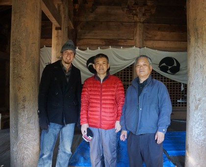 Graduate Student Elijah Bender visiting Kōsuge Shrine