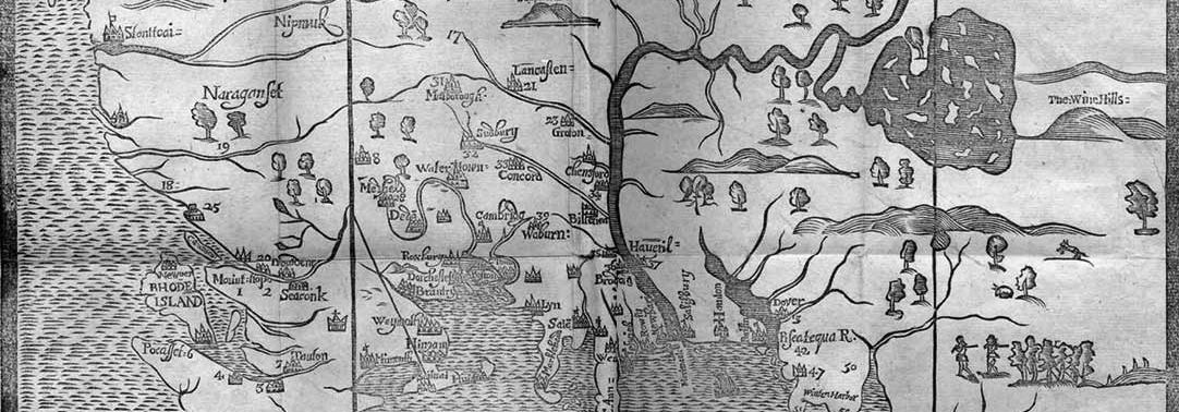 Woodcut map of New England, 1677. Printed by John Foster.