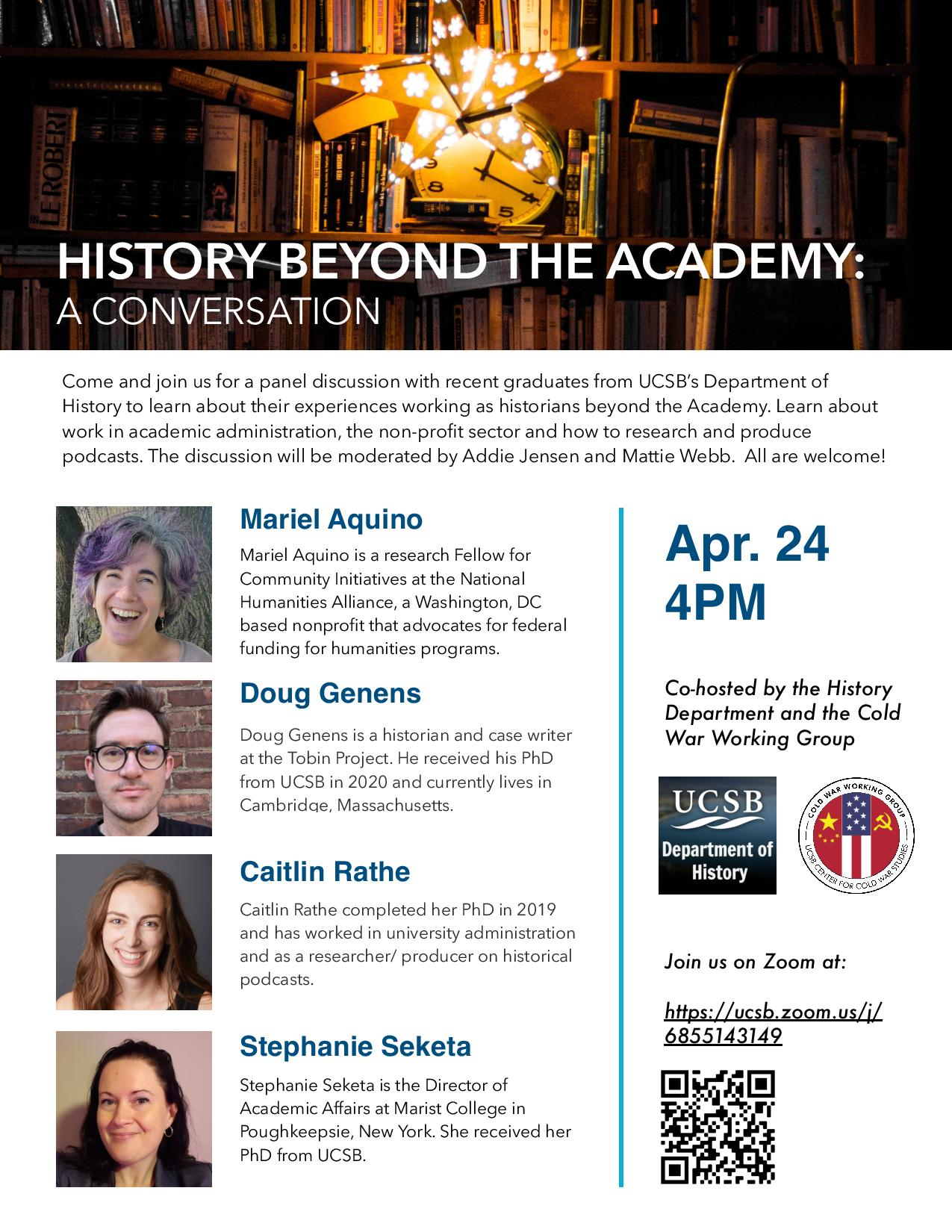 FLyer for Zoom talk for History Beyond the Academy: A Conversation on 4/24/21 at 4PM