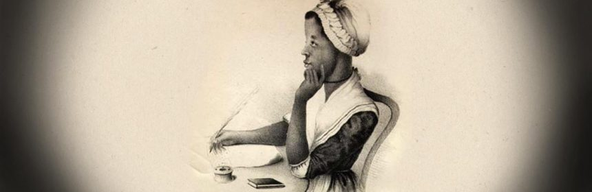 Black and white drawing of a woman with bonnet thinking about what to write with a quill in her hand