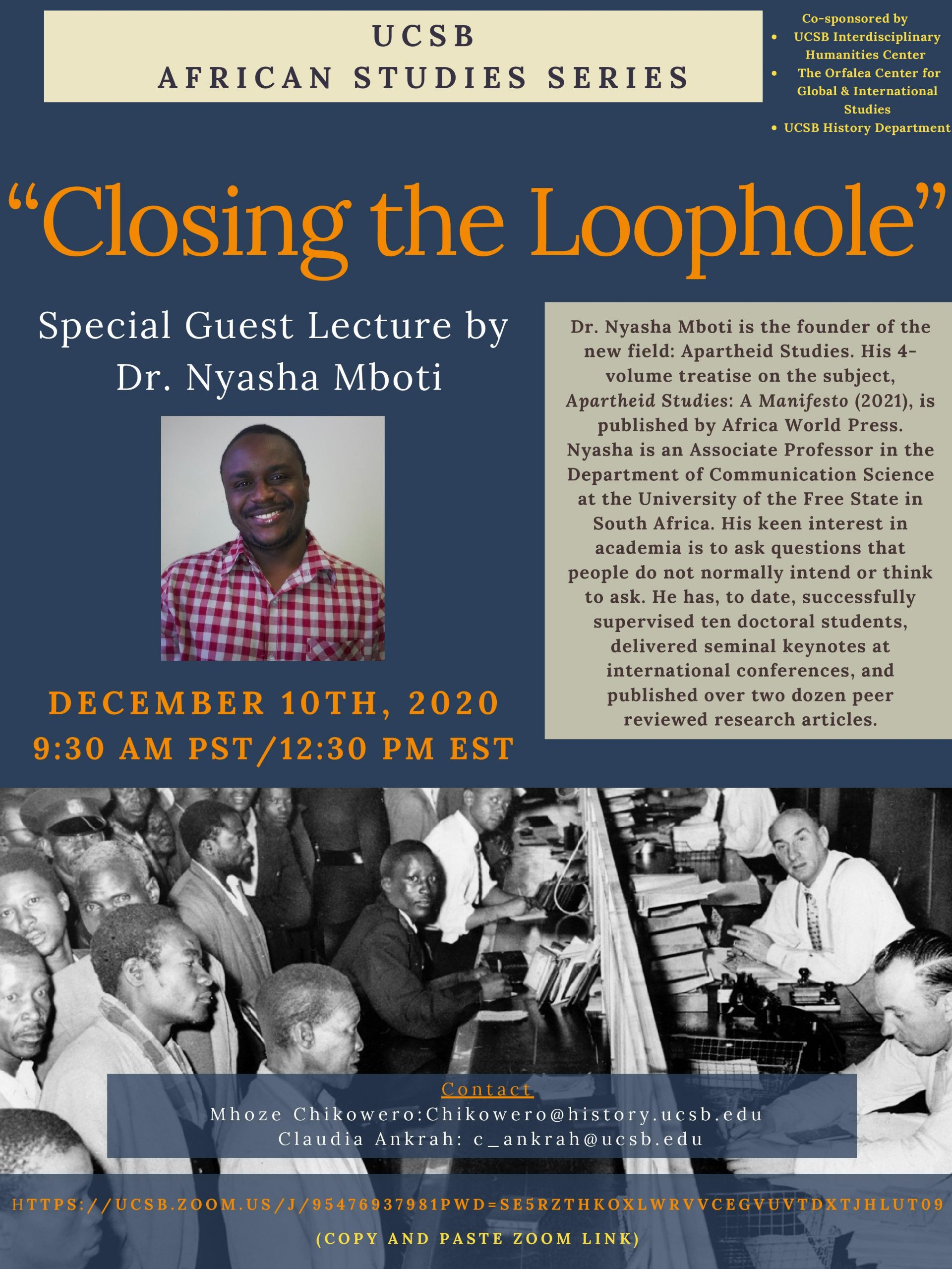 """FLyer for Zoom Talk for """"Closing the Loophole"""" on 12/10/20 at 9:30AM"""