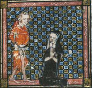 Medieval illustration of a bowing nun and man