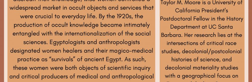 """Flyer for Zoom talk """"Amulet Tales: Political and Spiritual Economies of Healing in Egypt on 1/13/21 at 11:30AM"""