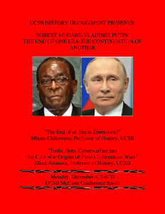 flyer of Robert Mugabe-Vladimir Putin: The End of One Era-Continuation of Another
