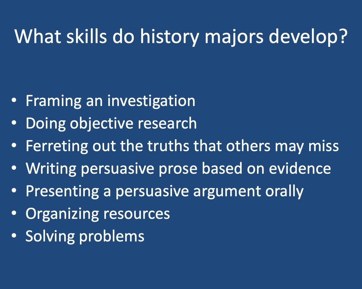 powerpoint slide that reads What skills do history majors develop? with bullet points providing ex.