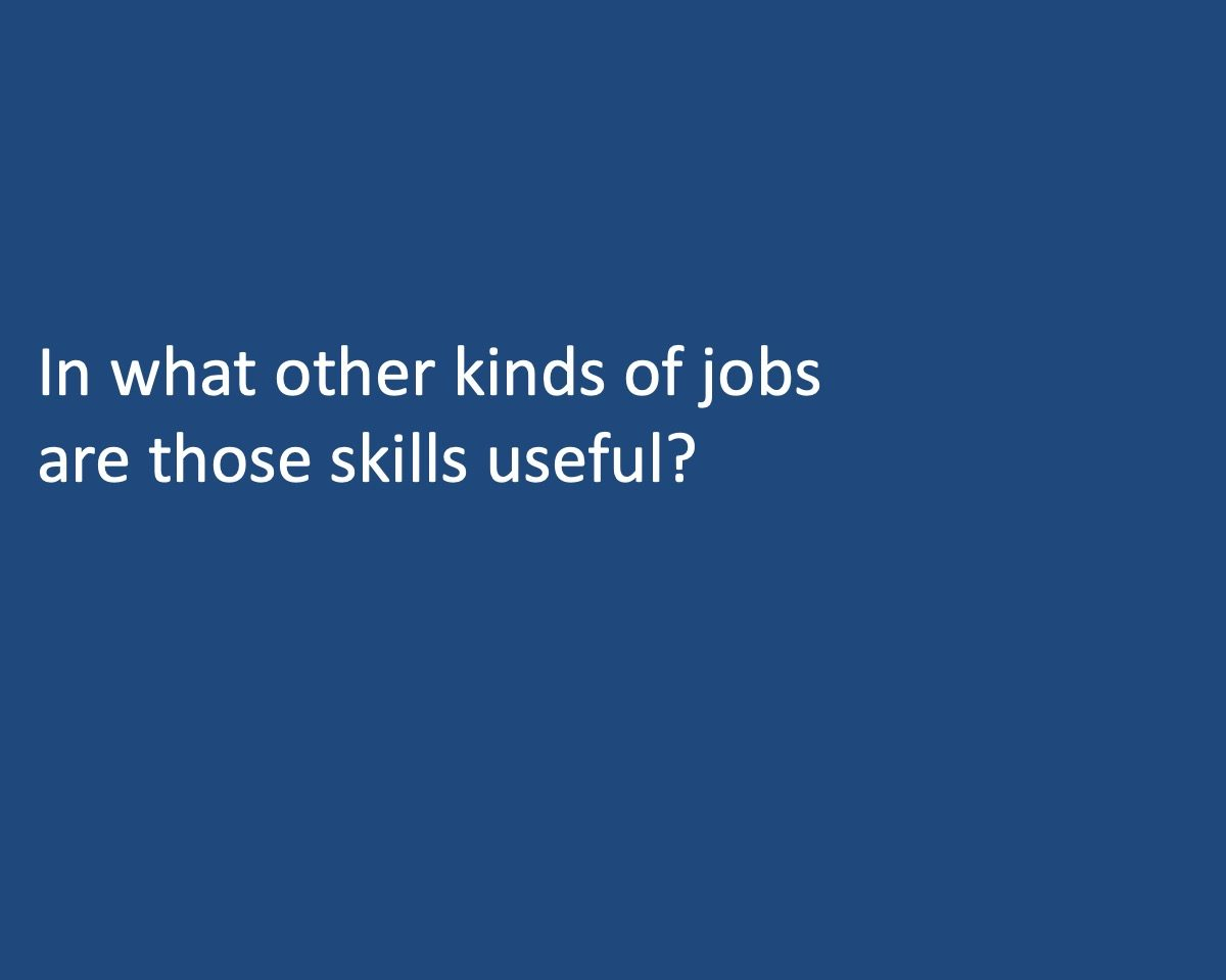 powerpoint slide that reads In what other kinds of jobs are those skills uselful?