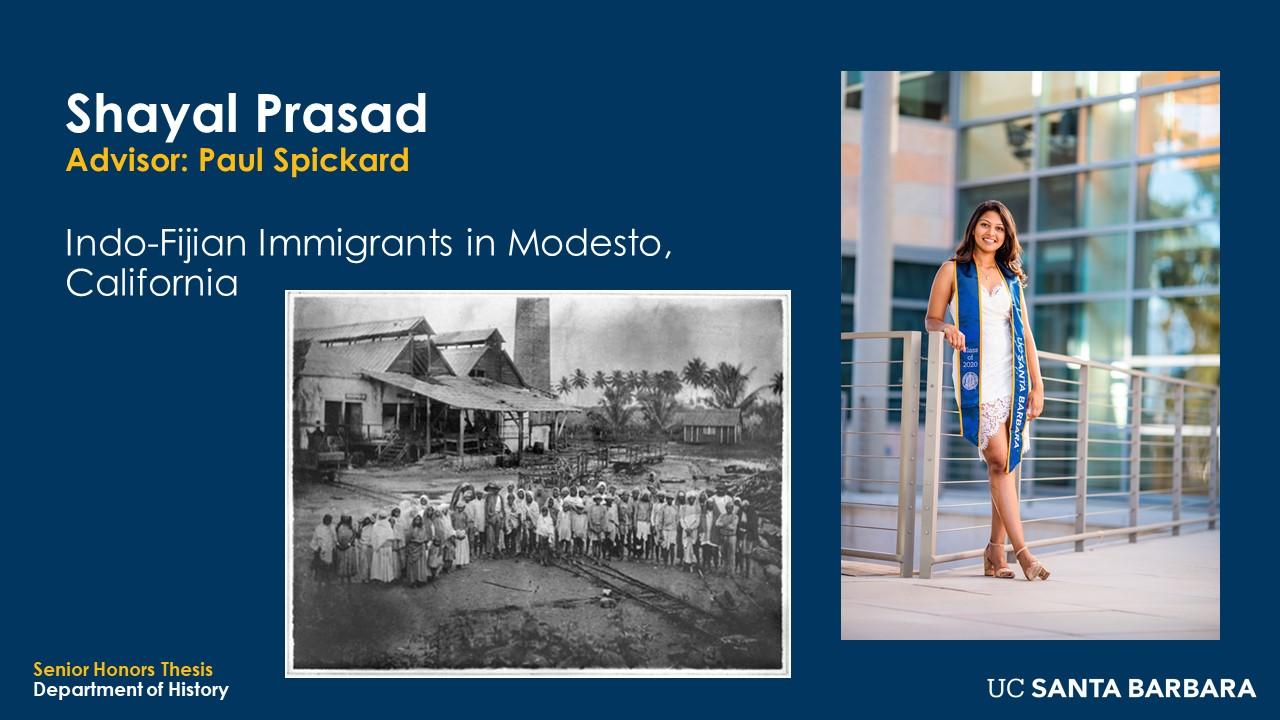 """Slide for Shayal Prasad. """"Indo-Fijian Immigrants in Modesto, California"""""""