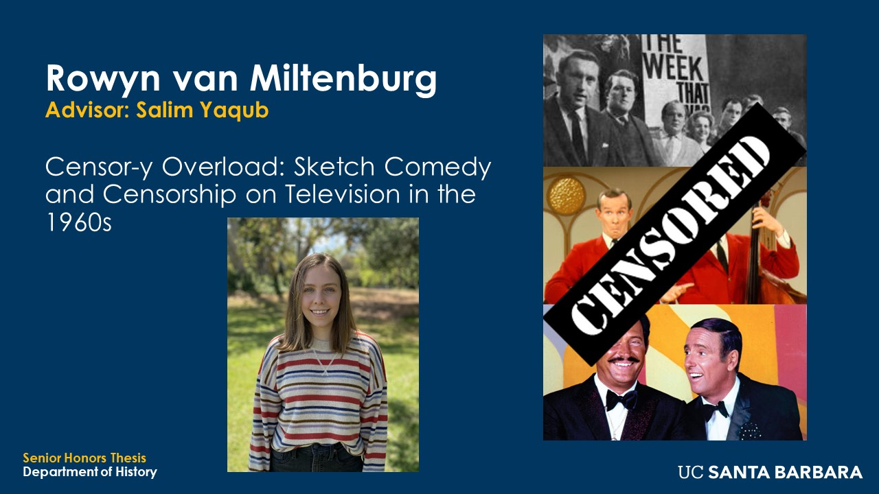 """Slide for Rowyn van Miltenburg. """"Censor-y Overload: Sketch Comedy and Censorship on Television in the 1960s"""""""