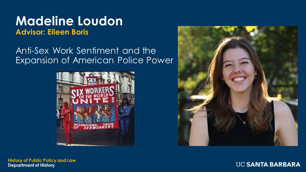 """Slide for Madeline Loudon. """"Anti-Sex Work Sentiment and the Expansion of American Police Power"""""""