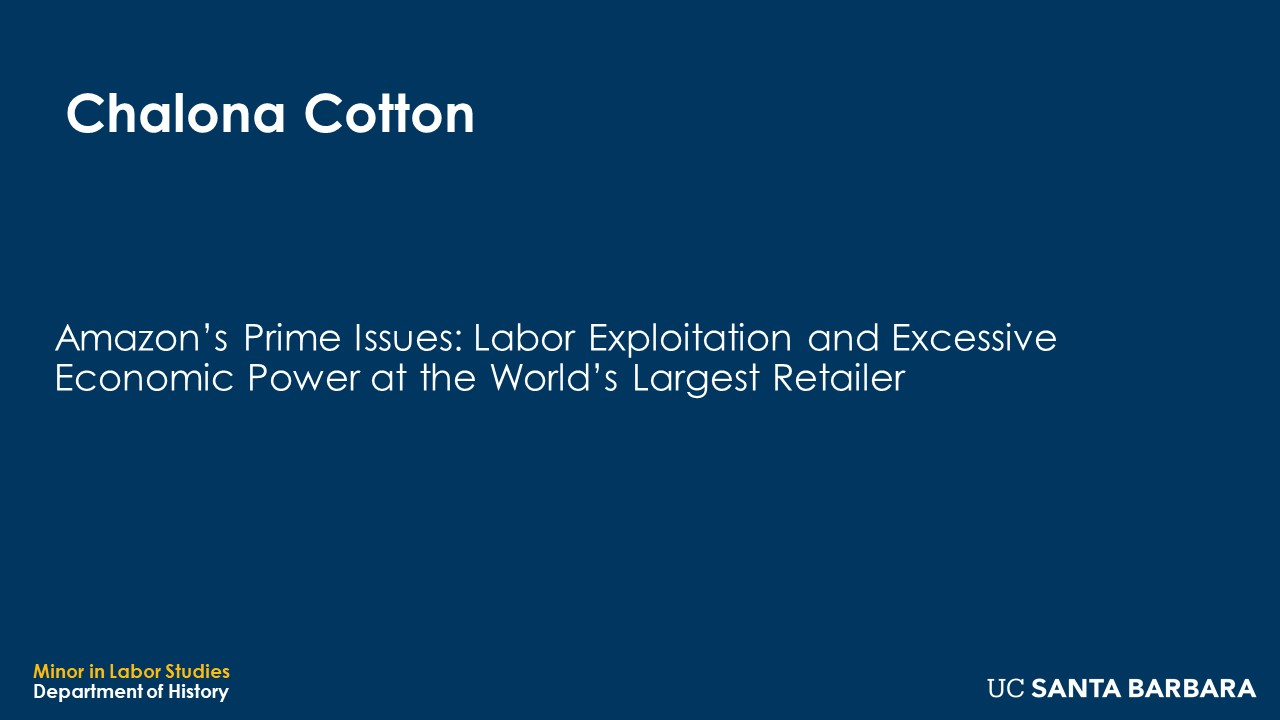 """Banner for Chalona Cotton. """"Amazon's Prime Issues: Labor Exploitation and Excessive Economic Power at the World's Largest Retailer"""""""