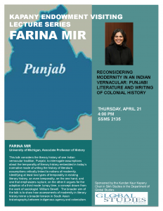 """flyer for Farina Mir: """"Reconsidering Modernity in an Indian Vernacular: Punjabi Literature and the Writing of Colonial History"""""""